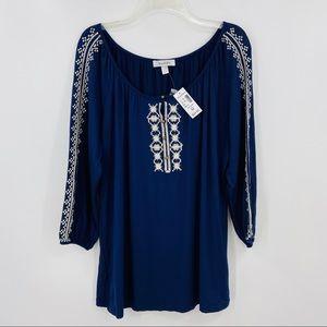 New DRESSBARN Blue Peasant Boho Shirt 3/4 Sleeve